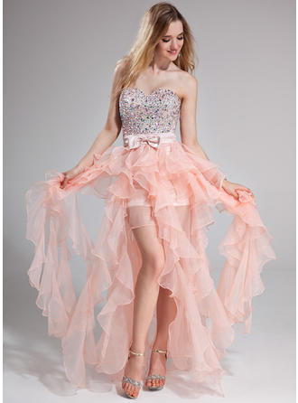 Organza Sleeveless A-Line/Princess Prom Dresses Sweetheart Beading Bow(s) Cascading Ruffles Floor-Length (018025274)