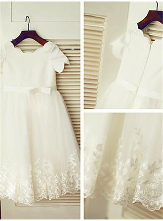 Scoop Neck A-Line/Princess Flower Girl Dresses Tulle Ruffles/Sash/Appliques Short Sleeves Tea-length