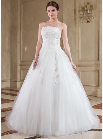 Chic Chapel Train Ball-Gown Wedding Dresses Strapless Tulle Sleeveless