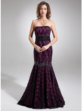 Trumpet/Mermaid Strapless Charmeuse Lace Sleeveless Sweep Train Beading Bow(s) Evening Dresses