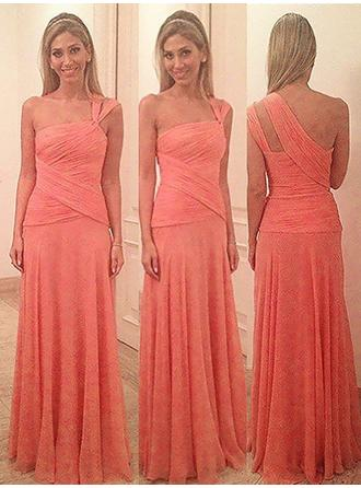 Sheath/Column Chiffon Bridesmaid Dresses Ruffle One-Shoulder Sleeveless Floor-Length (007218555)