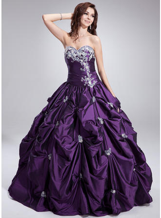 Ball-Gown Sweetheart Floor-Length Taffeta Prom Dress With Ruffle Beading Appliques Lace
