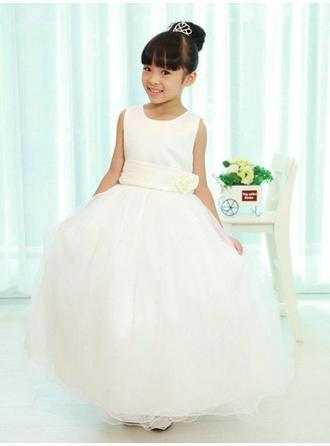 Ball Gown Scoop Neck Floor-length With Flower(s) Satin/Tulle Flower Girl Dresses