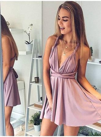 A-Line/Princess V-neck Silk Like Satin Sleeveless Short/Mini Ruffle Homecoming Dresses