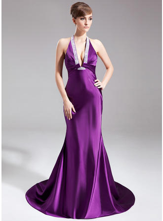 Trumpet/Mermaid Halter Court Train Evening Dress With Ruffle Beading