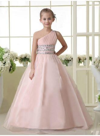 Ball Gown One-Shoulder Floor-length With Beading Satin/Tulle Flower Girl Dresses