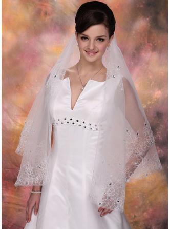 Walzer Braut Schleier Tüll Einschichtig Engelschnitt /Wasserfall mit Schnittkante Brautschleier