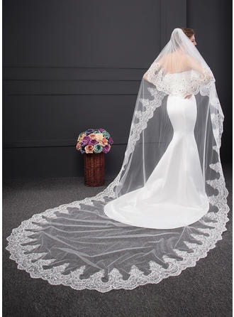 Two-tier Lace Applique Edge Chapel Bridal Veils With Lace (006150912)