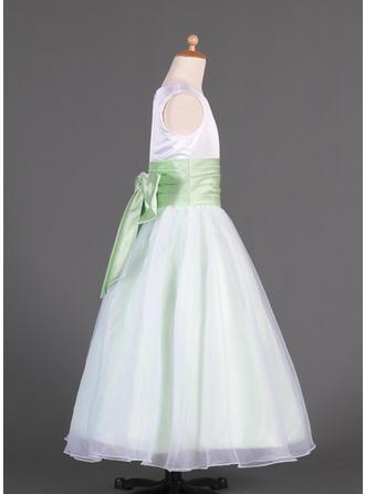 Aライン/プリンセスライン2 マキシレングス フラワーガールのドレス - オーガンザ/Charmeuse 袖なし スクープネック とともに サッシュ/弓 (010014633)