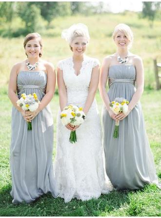 A-Line/Princess Strapless Floor-Length Bridesmaid Dresses With Ruffle