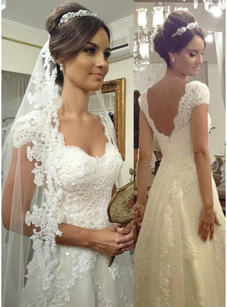 Magnificent Court Train A-Line/Princess Wedding Dresses Sweetheart Tulle Lace Sleeveless (002144865)