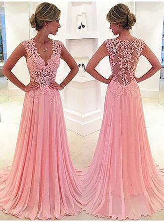 A-Line/Princess V-neck Chiffon Sleeveless Sweep Train Lace Evening Dresses