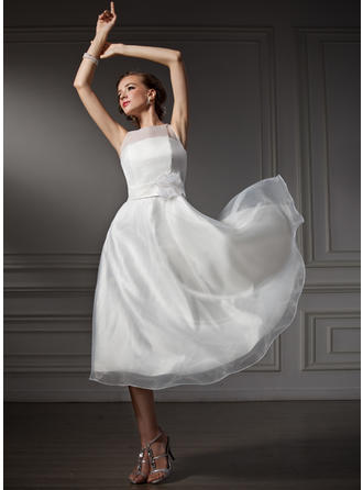 Simple Tea-Length A-Line/Princess Wedding Dresses Scoop Satin Sleeveless