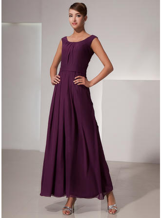 A-Line/Princess Scoop Neck Ankle-Length Bridesmaid Dresses With Ruffle