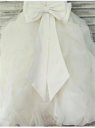 Wunderschön Bodenlang Duchesse-Linie Blumenmädchenkleider U-Ausschnitt Ärmellos (010211820)