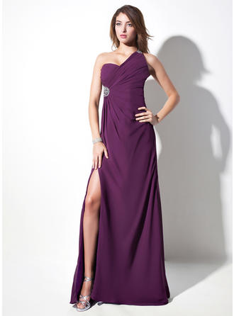 Sheath/Column Chiffon One-Shoulder Sleeveless Evening Dresses
