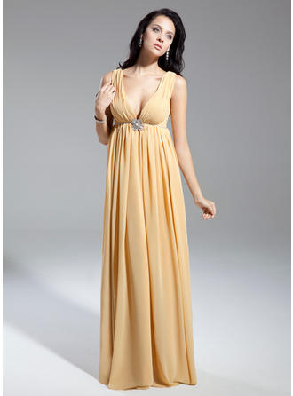Empire V-neck Chiffon Sleeveless Floor-Length Ruffle Beading Mother of the Bride Dresses