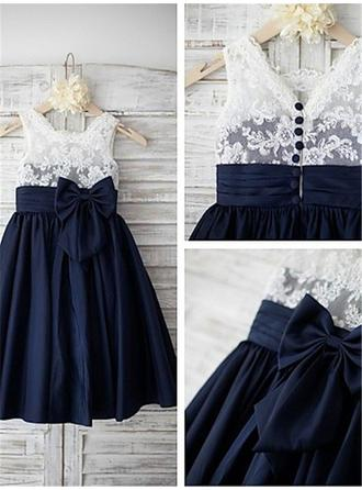 A-Line/Princess Straps Knee-length With Bow(s) Chiffon/Lace Flower Girl Dresses