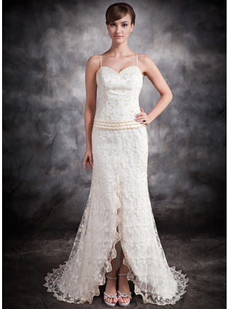 Newest Asymmetrical Trumpet/Mermaid Wedding Dresses Sweetheart Lace Sleeveless