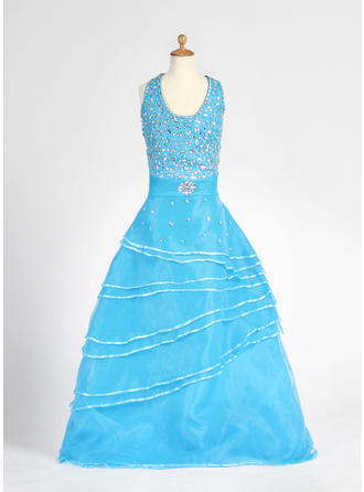 A-Line/Princess Halter Floor-length With Beading Organza/Satin Flower Girl Dress
