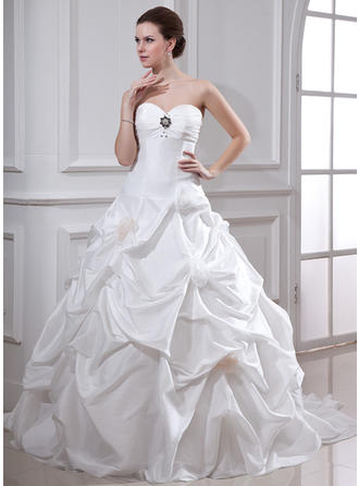 Ball-Gown Chapel Train Wedding Dress With Ruffle Beading Flower(s)