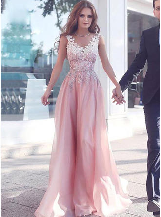 A-Line/Princess V-neck Chiffon Sleeveless Sweep Train Lace Beading Evening Dresses