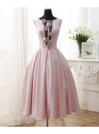 A-Line/Princess Scoop Neck Tea-Length Satin Prom Dress With Flower(s)