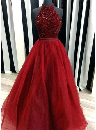 Ball-Gown High Neck Tulle Sleeveless Floor-Length Beading Evening Dresses