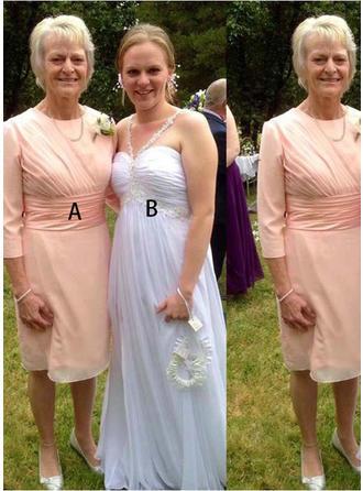 A-Linie/Princess-Linie U-Ausschnitt Knielang Kleider für die Brautmutter mit Rüschen