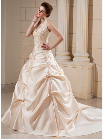 Sexy Cathedral Train Ball-Gown Wedding Dresses Halter Satin Sleeveless