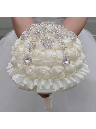 """Brautsträuße/Brautjungfer Blumensträuße Rund Hochzeit/Party Satin 7.09""""(Ungefähre 18cm) Brautstrauß"""
