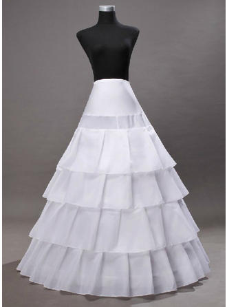Bustle Floor-length Tulle Netting/Satin Full Gown Slip 2 Tiers Petticoats