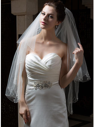 Fingertip Bridal Veils Tulle Two-tier Classic With Pearl Trim Edge/Pencil Edge Wedding Veils