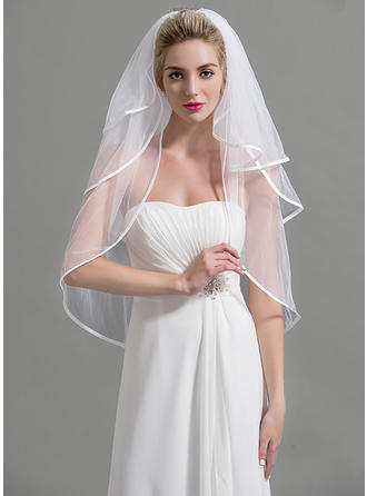 Elbow Bridal Veils Tulle Three-tier Classic With Pencil Edge Wedding Veils