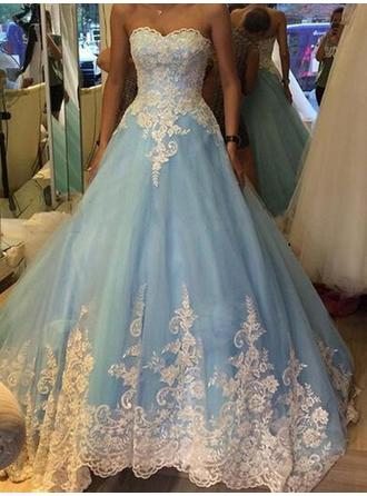 Tulle Sleeveless Ball-Gown Prom Dresses Sweetheart Appliques Floor-Length