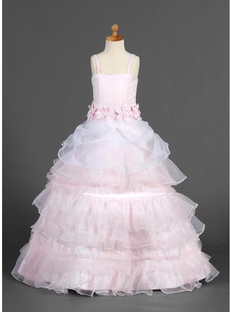 A-Line/Princess Straps Floor-length With Ruffles/Sash/Flower(s) Organza/Satin Flower Girl Dress
