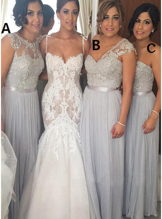 A-Line/Princess Strapless One-Shoulder Scoop Neck Floor-Length Bridesmaid Dresses With Lace Sash