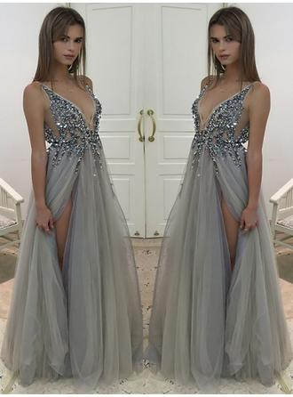 A-Line/Princess V-neck Floor-Length Tulle Prom Dress With Beading Sequins Split Front (002148413)