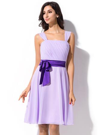 A-Line Knee-Length Chiffon Bridesmaid Dress With Ruffle Sash Bow(s)