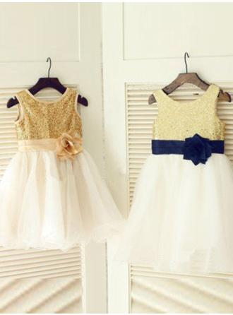 Knee-length Sleeveless Tulle/Sequined With Delicate Flower Girl Dresses