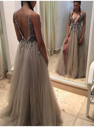 A-Line/Princess V-neck Sweep Train Prom Dresses With Beading Split Front