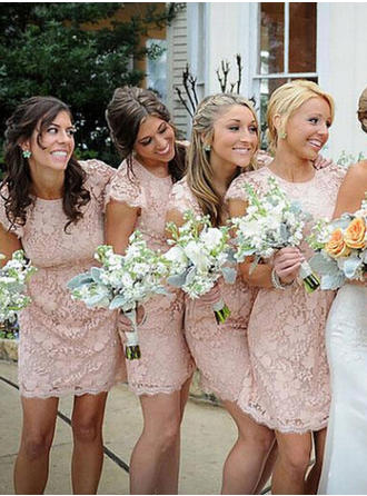 Sheath/Column Lace Bridesmaid Dresses Scoop Neck Short Sleeves Knee-Length