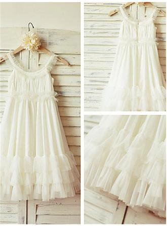 A-Line/Princess Scoop Neck Tea-length With Ruffles Chiffon Flower Girl Dresses (010211935)
