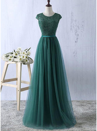 A-Line/Princess Scoop Neck Floor-Length Tulle Evening Dresses With Sash