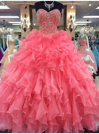 Ball-Gown Sweetheart Floor-Length Organza Prom Dress With Beading (018210383)
