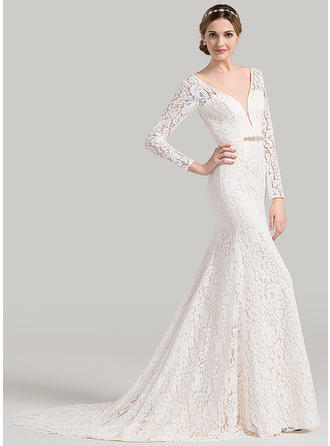 Court Train Trumpet/Mermaid Lace Delicate Wedding Dresses Long Sleeves