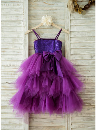 Empire Straps Knee-length With Bow(s) Tulle/Sequined Flower Girl Dresses