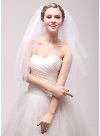 Waltz Bridal Veils Tulle Three-tier Classic With Cut Edge Wedding Veils