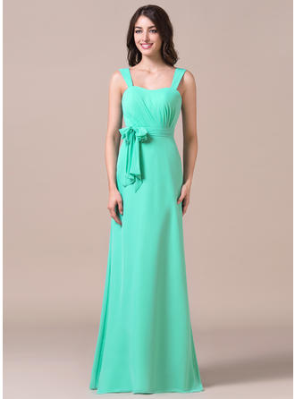Chiffon Sleeveless Sheath/Column Bridesmaid Dresses Sweetheart Ruffle Bow(s) Floor-Length