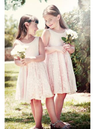 A-Line/Princess Scoop Neck Knee-length Lace Sleeveless Flower Girl Dress